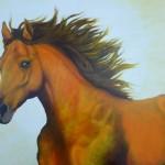 Paard ( de tijd) geschilderd door Marian van Zomeren- van Heeseijk 80 x 120 cm. acryl op linnen € 1650,-